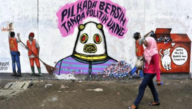 """Street art promoting a """"clean election free of money politics"""""""